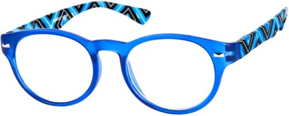 Angle of The Florence in Blue Multi, Women's and Men's Round Reading Glasses