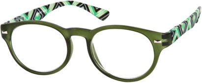 Angle of The Florence in Green Multi, Women's and Men's Round Reading Glasses