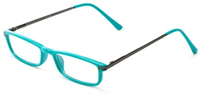 Angle of The Leading Lady in Teal/Grey, Women's and Men's Rectangle Reading Glasses