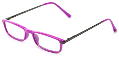 Angle of The Leading Lady in Pink/Grey, Women's and Men's Rectangle Reading Glasses