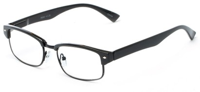 Angle of The Judge in Black/Black, Women's and Men's Browline Reading Glasses