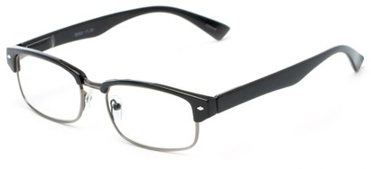 Angle of The Judge in Black/Grey, Women's and Men's Browline Reading Glasses