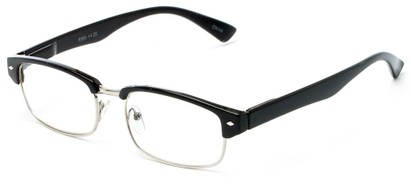 Angle of The Judge in Black/Silver, Women's and Men's Browline Reading Glasses