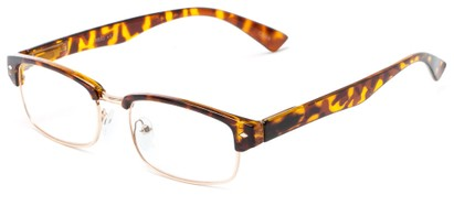 Angle of The Judge in Tortoise/Gold, Women's and Men's Browline Reading Glasses