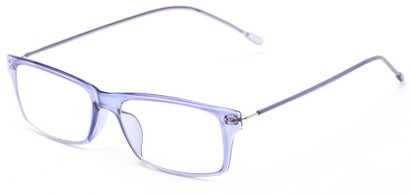 Angle of The Pizzelle Flexible Reader in Purple, Women's and Men's Rectangle Reading Glasses