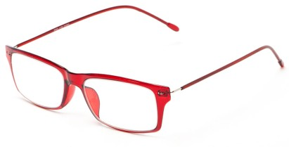 Angle of The Pizzelle Flexible Reader in Red, Women's and Men's Rectangle Reading Glasses