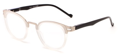 Angle of The Wisteria in Matte Clear/Silver, Women's and Men's Round Reading Glasses