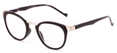 Angle of The Wisteria in Glossy Black/Silver, Women's and Men's Round Reading Glasses