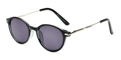Angle of The Geller Reading Sunglasses in Black/Silver with Smoke, Women's and Men's Round Reading Sunglasses