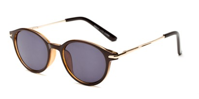Angle of The Geller Reading Sunglasses in Brown/Gold with Smoke, Women's and Men's Round Reading Sunglasses