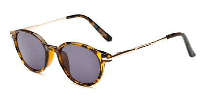 Angle of The Geller Reading Sunglasses in Tortoise/Gold with Smoke, Women's and Men's Round Reading Sunglasses