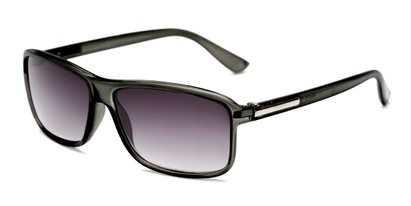 Angle of The Rufus Reading Sunglasses in Clear Black With Smoke, Women's and Men's Rectangle Reading Sunglasses