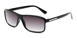 Angle of The Rufus Reading Sunglasses in Glossy Black with Smoke, Women's and Men's Rectangle Reading Sunglasses