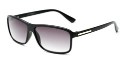 Angle of The Rufus Reading Sunglasses in Matte Black with Smoke, Women's and Men's Rectangle Reading Sunglasses