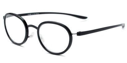 Angle of The Wanderlust in Black, Women's and Men's Round Reading Glasses