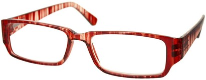 Angle of The Drexel in Red Stripe, Women's and Men's Rectangle Reading Glasses