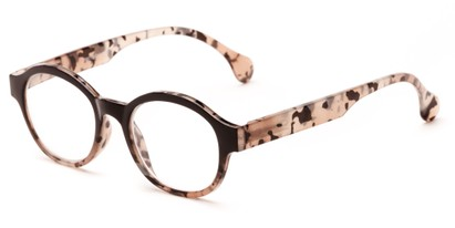 Angle of The Quincy in Black/Brown Tortoise Fade, Women's and Men's Round Reading Glasses