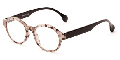 Angle of The Quincy in Tan Tortoise/Black Temples, Women's and Men's Round Reading Glasses