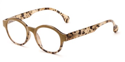 Angle of The Quincy in Olive Green Tortoise Fade, Women's and Men's Round Reading Glasses