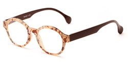 Angle of The Quincy in Brown Tortoise/Brown Temples, Women's and Men's Round Reading Glasses