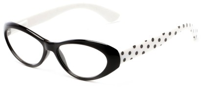 Angle of The Truffle in Black/White, Women's Cat Eye Reading Glasses
