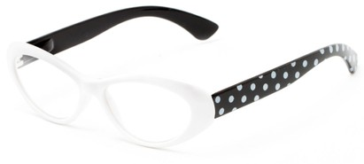 Angle of The Truffle in White/Black, Women's Cat Eye Reading Glasses