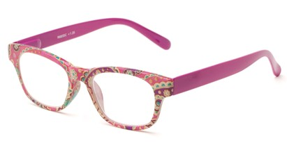 Angle of The Athena in Dark Pink, Women's Retro Square Reading Glasses