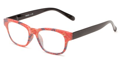 Angle of The Athena in Red/Black, Women's Retro Square Reading Glasses