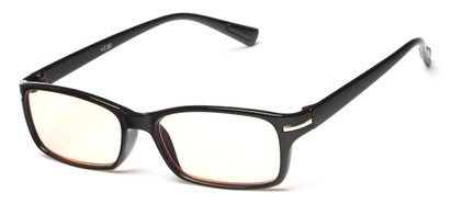Angle of The Chairman Computer Reader in Glossy Black, Women's and Men's Rectangle Reading Glasses