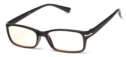 Angle of The Chairman Computer Reader in Matte Black, Women's and Men's Rectangle Reading Glasses