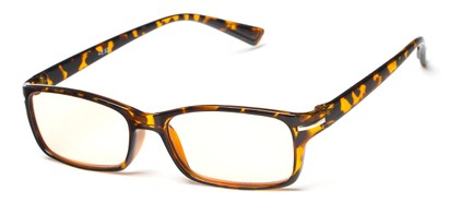 Angle of The Chairman Computer Reader in Glossy Tortoise, Women's and Men's Rectangle Reading Glasses
