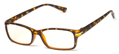 Angle of The Chairman Computer Reader in Matte Tortoise, Women's and Men's Rectangle Reading Glasses