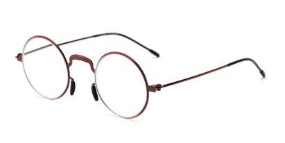 Angle of The Filbert in Glossy Red, Women's and Men's Round Reading Glasses