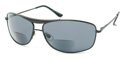 Angle of The Melbourne Bifocal Reading Sunglasses in Matte Black, Women's and Men's Aviator Reading Sunglasses