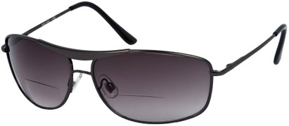Angle of The Melbourne Bifocal Reading Sunglasses in Glossy Grey with Dark Smoke Lenses, Women's and Men's Aviator Reading Sunglasses