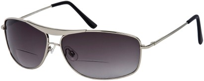 Angle of The Melbourne Bifocal Reading Sunglasses in Glossy Silver with Dark Smoke Lenses, Women's and Men's Aviator Reading Sunglasses