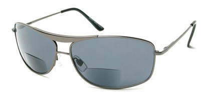 Angle of The Melbourne Bifocal Reading Sunglasses in Glossy Grey with Blue Lenses, Women's and Men's Aviator Reading Sunglasses