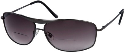 Angle of The Melbourne Bifocal Reading Sunglasses in Matte Grey with Dark Smoke Lenses, Women's and Men's Aviator Reading Sunglasses