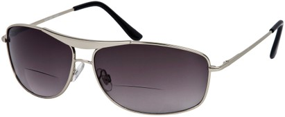 Angle of The Melbourne Bifocal Reading Sunglasses in Matte Silver with Dark Smoke Lenses, Women's and Men's Aviator Reading Sunglasses
