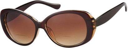 Angle of The Olive Bifocal Reading Sunglasses in Brown with Amber, Women's Cat Eye Reading Sunglasses