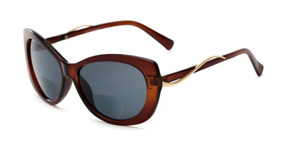 Angle of The Wink Bifocal Reading Sunglasses in Brown with Smoke, Women's Cat Eye Reading Sunglasses