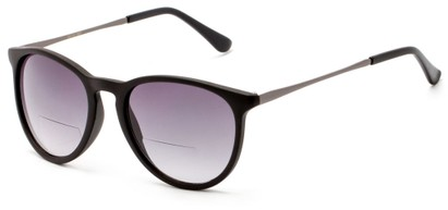 Angle of The Beale Bifocal Reading Sunglasses in Black and Grey/Smoke, Women's and Men's Round Reading Sunglasses