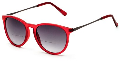 Angle of The Beale Bifocal Reading Sunglasses in Red and Grey/Smoke, Women's and Men's Round Reading Sunglasses