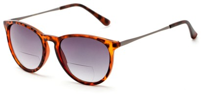 Angle of The Beale Bifocal Reading Sunglasses in Tortoise and Grey/Smoke, Women's and Men's Round Reading Sunglasses