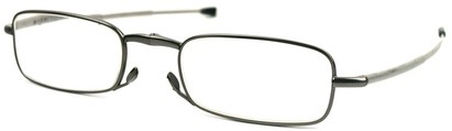Angle of The Gideon Folding Reader in Grey, Women's and Men's Retro Square Reading Glasses