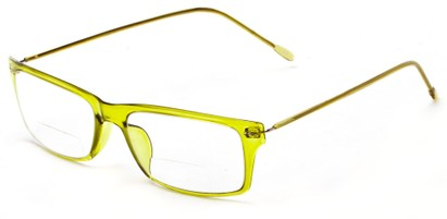 Angle of The Henley Flexible Bifocal in Green, Women's and Men's Rectangle Reading Glasses
