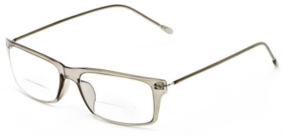 Angle of The Henley Flexible Bifocal in Grey, Women's and Men's Rectangle Reading Glasses