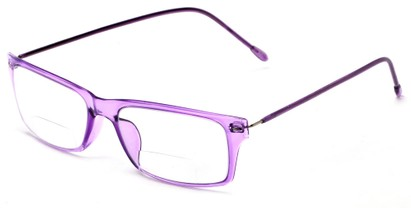 Angle of The Henley Flexible Bifocal in Purple, Women's and Men's Rectangle Reading Glasses