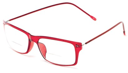 Angle of The Henley Flexible Bifocal in Red, Women's and Men's Rectangle Reading Glasses