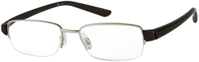 Angle of The Belvedere in Black/Silver, Women's and Men's Rectangle Reading Glasses